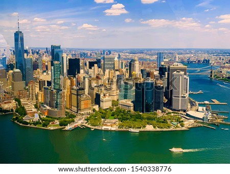 Manhattan buildings, New York City skyline. Aerial View #1540338776