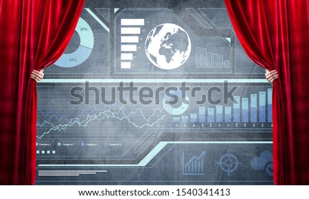 Hand opening red curtain and drawing business graphs and diagrams behind it #1540341413