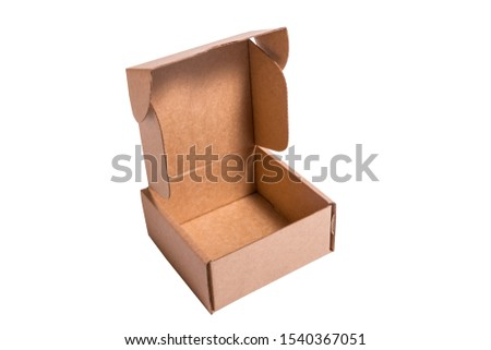 Brown craft cardboard box, isolates