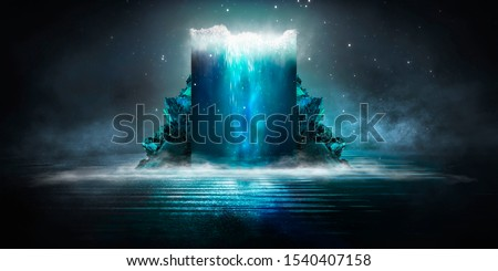 Dark abstract futuristic background. Scene with stairs up. Seabed, large abstract aquarium, sea waves. Blue neon light, concrete floor reflected in water.