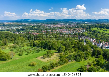 aerial view to the city Nuertingen an the Swabian Alb #1540426895