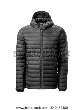 Men's black hooded warm sport puffer jacket isolated over white background. Ghost mannequin photography Royalty-Free Stock Photo #1540469360