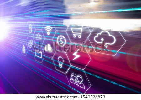 IoT (Internet of Things),wireless network connection, cloud storage technology concept.internet of things with highway overpass motion blur with city skyline background. #1540526873