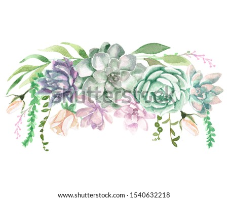 A watercolor floral border with succulents and greenery