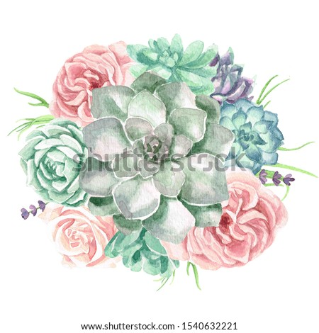 A watercolor floral bouquet illustration with roses, succulents and greenery
