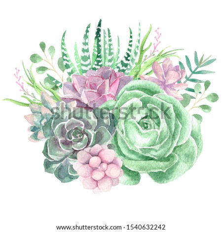 A watercolor floral bouquet illustration with succulents and greenery
