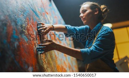 Talented Innovative Female Artist Draws with Her Hands on the Large Canvas, Using Fingers She Creates Colorful, Emotional, Sensual Oil Painting. Contemporary Painter Creating Abstract Modern Art #1540650017