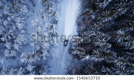 Aerial view of a car on winter road in the forest. Aerial photography of snowy forest with car on the road. Aerial photo.  #1540653710
