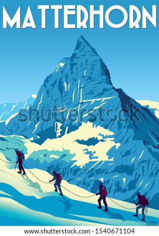 A group of climbers climb the Matterhorn peak in Switzerland. Handmade drawind vector illustation. Retro style Poster.