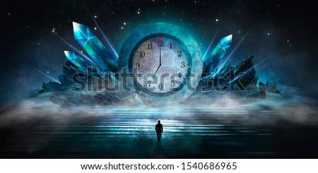 Dark scene with an abstract clock. Concrete circle time, precious stones. Night view, neon blue light. Futuristic mystical landscape.