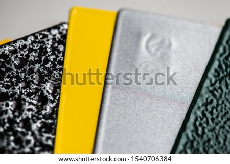 Powder coatings samples on metal plate #1540706384