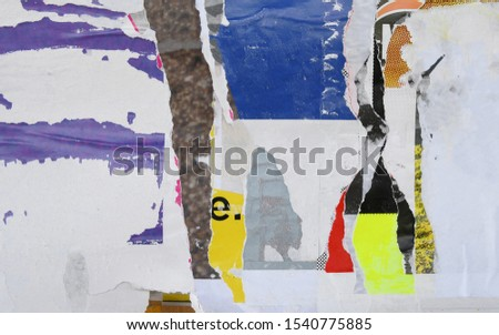 Torn paper collage style wall poster texture   #1540775885