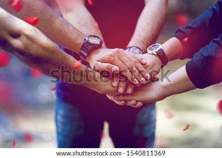 Teamwork and Unity Teamwork, handshaking in the team Team concept #1540811369