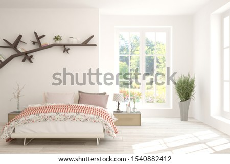 Stylish bedroom in white color with summer landscape in window. Scandinavian interior design. 3D illustration #1540882412