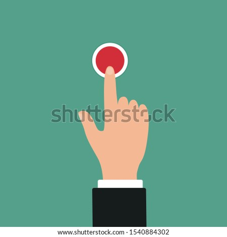 Hand push red button. Icon of web button. Vector illustration #1540884302