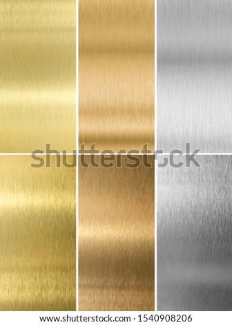 Silver, bronze and gold metal textures set. Mixed media. #1540908206