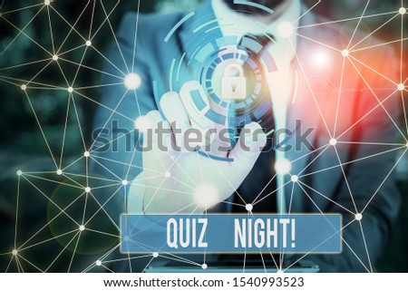 Writing note showing Quiz Night. Business photo showcasing evening test knowledge competition between individuals Picture photo network scheme with modern smart device. #1540993523