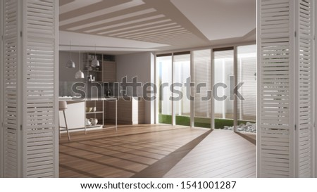 White folding door opening on modern white kitchen with wooden details and parquet floor, white interior design, architect designer concept, blur background, 3d illustration #1541001287