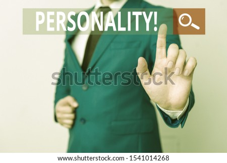 Conceptual hand writing showing Personality. Business photo text combination characteristics that form individuals character Businessman with pointing finger in front of him. #1541014268