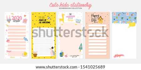 Collection of weekly or daily planner, note paper, to do list, stickers templates decorated by cute kids illustrations and inspirational quote. School scheduler and organizer. Flat vector #1541025689