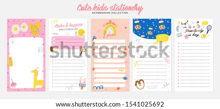 Collection of weekly or daily planner, note paper, to do list, stickers templates decorated by cute kids illustrations and inspirational quote. School scheduler and organizer. Flat vector #1541025692