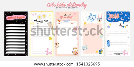Collection of weekly or daily planner, note paper, to do list, stickers templates decorated by cute kids illustrations and inspirational quote. School scheduler and organizer. Flat vector #1541025695