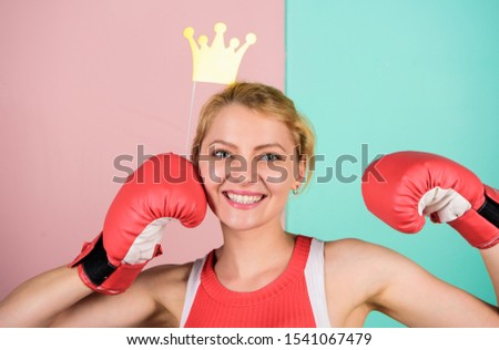 Queen of boxing ring. Sportswoman with princess crown. Cheerful girl with crown prop in boxing gloves. Athletic woman winner. Victory concept. Sport success. Achieve success. Celebrate success. #1541067479