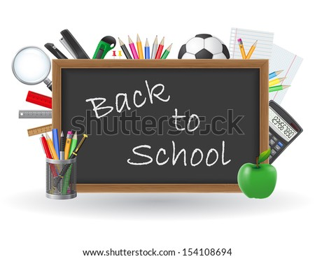 set icons school supplies illustration isolated on white background