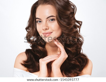 Beauty skin woman healthy skin and hairnatural makeup model #1541093777
