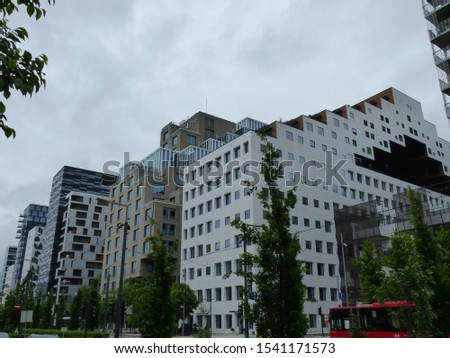 Oslo, Norway / Norway - June 2019: Facade and building of the Bar Code project in Oslo #1541171573