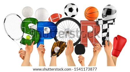 Athlete people holding up colorful letter with word Sport decorated with sports goods cycling wheel ball motorsport helmet swimming pool isolated on white background. training competition concept. #1541173877