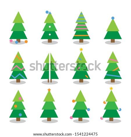 Winter colorful cartoon Christmas tree vector set #1541224475