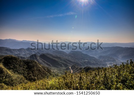 Landscape with blue sky and mist mountains  #1541250650