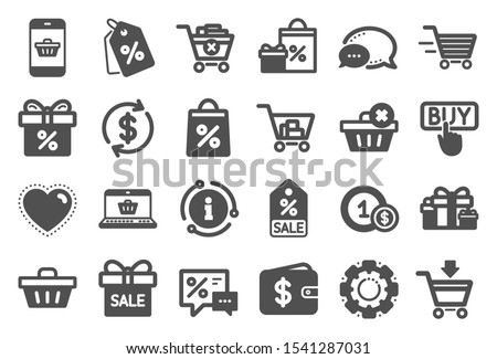 Shopping wallet icons. Gift, Present and Sale offer signs. Shopping cart, Delivery gift and Tags symbols. Speech bubble, Discount, sale and wallet. Online buying. Surprise present. Quality set. Vector #1541287031