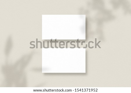 Mockup of two horizontal business cards with soft shadows. Blank business cards. Template for branding identity. Photo mockup with clipping path.