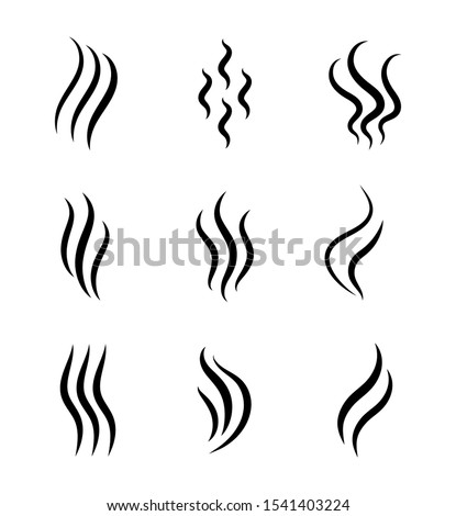 Aromas, smell vaporize icon. Outline symbols smoke, cooking steam odour, fume of flame. Hot aroma odors signs set. Wave of stench isolated. vector abstract illustration #1541403224
