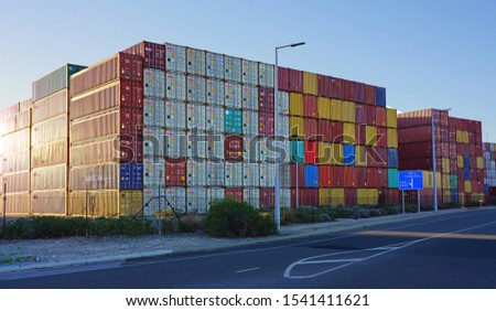 FREMANTLE, AUSTRALIA -3 JUL 2019- View of stacks of shipping containers in the Port of Fremantle near Perth in Western Australia. #1541411621