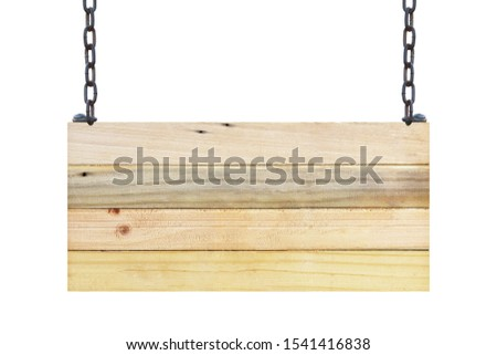 vintage blank wood sign board on chains with space for text isolated on white background