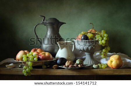 Classical still life with apples and grapes #154141712