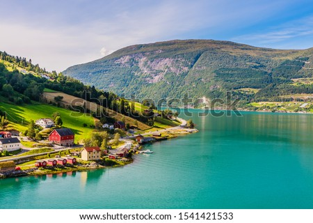 Small  houses at Olden, Norway.Olden is a village and urban area in the municipality of Stryn in Sogn og Fjordane county, Norway. #1541421533
