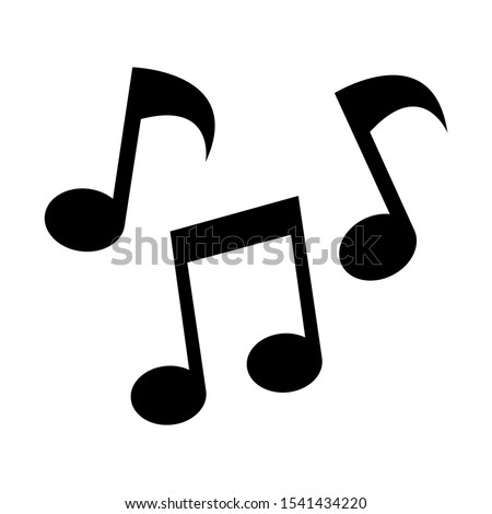 Tone music icon design. Black musical notes icon in modern flat style design. Vector illustration.