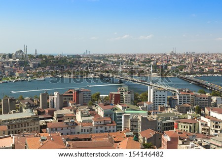 Panoramic view from Galata tower to Golden Horn, Istanbul, Turkey #154146482