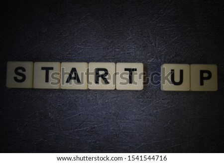 Start Up, word cube with background  #1541544716