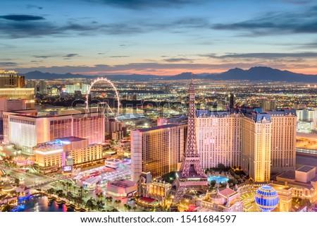 Las Vegas, Nevada, USA skyline over the strip at dusk. #1541684597