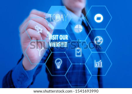 Text sign showing Visit Our Website. Conceptual photo visitor who arrives at web site and proceeds to browse Woman wear formal work suit present presentation using smart latest device. #1541693990