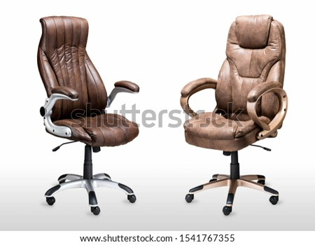 Leather armchair. Two brown armchairs #1541767355