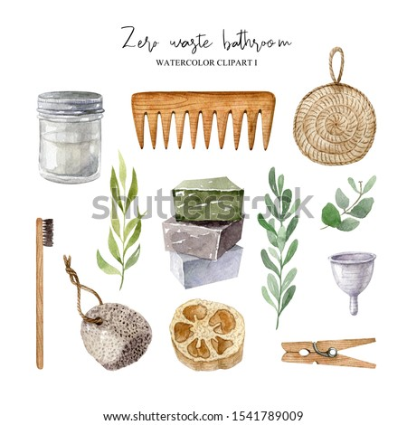 Zero waste bathroom accessories set-glass jar, wooden comb, jute washcloth, bamboo toothbrush, organic soap, pumice, loofah, reusable menstrual cup, pin. Watercolor clipart isolated on white backdrop.