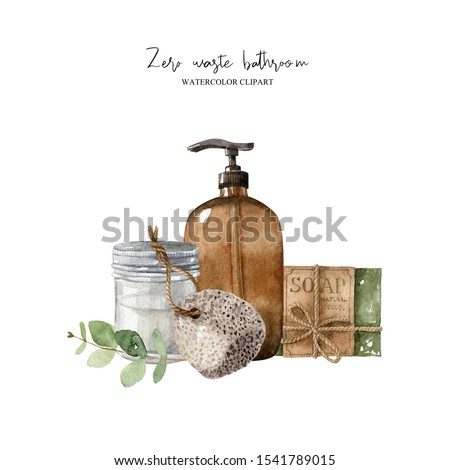 Zero waste composition with bathroom accessories–pumice, eucalyptus leaf, organic soap, glass dispenser, glass jar. Eco-friendly aesthetic. Watercolor hand drawn clipart isolated on white backdrop.