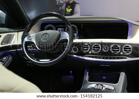 FRANKFURT - SEPT 10: Cockpit of Mercedes-Benz S-Class shown at the 65th IAA (Internationale Automobil Ausstellung) on September 10, 2013 in Frankfurt, Germany. #154182125