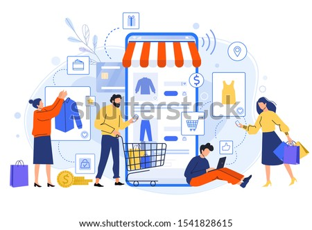 Mobile online shopping. People buy dresses, shirts and pants in online shops. Shoppers buying on internet sale flat vector illustration. Special offer, discount concept. Online clothing store #1541828615